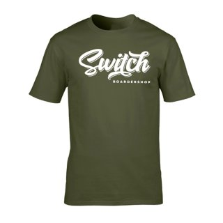 Switch T-Shirt Tag Logo - Military Green/White M